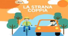 la strana coppia auto bicicletta